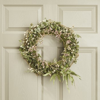 spring wreath on a door