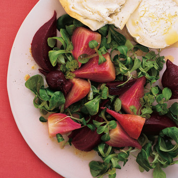 Beet and Mache Salad with Aged Goat Cheese