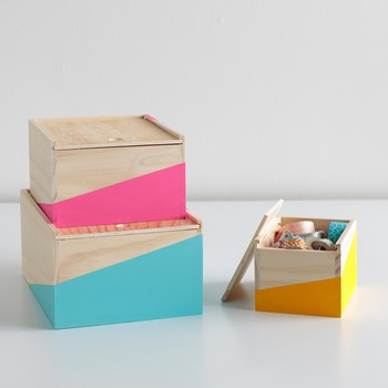 Color-Blocked Storage Boxes