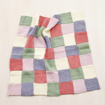 Loom-Knit Patchwork Garter Baby Throw