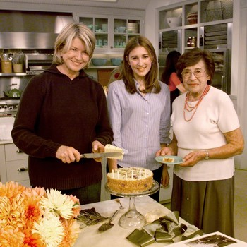 martha stewart and family around cake tv app