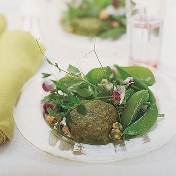 Warm Goat Cheese with Wasabi-Pea Crust, Peas, and Greens