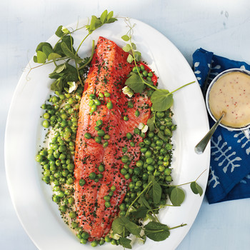 Wild Salmon with English Peas and Mustard Beurre Blanc