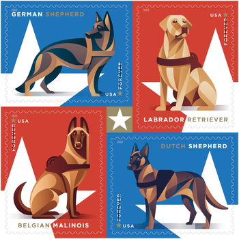 The United States Postal Service Is Honoring Military Dogs with a New Set of Forever Stamps