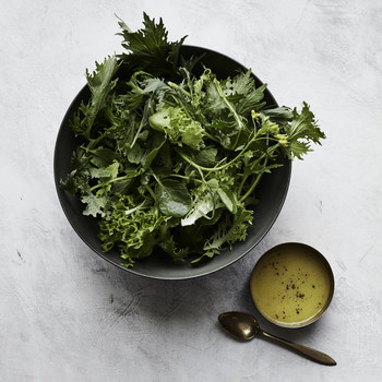 peppery greens with meyer lemon dressing
