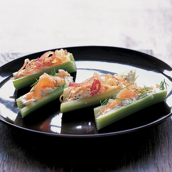 Smoked Salmon and Caramelized Onion Stuffed Celery Stalks