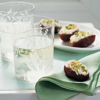 Goat Cheese and Pistachio Stuffed Dates