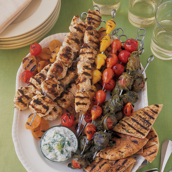 Zahtar Chicken Kabobs with Grape-Leaf-Wrapped Tomatoes and Grilled Apricots