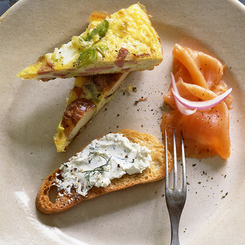 Smoked Salmon with Herbed Goat Cheese and Toast
