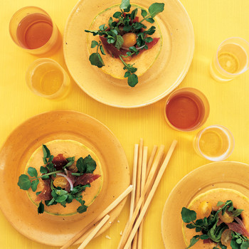 Melon Bowls with Prosciutto and Watercress Salad