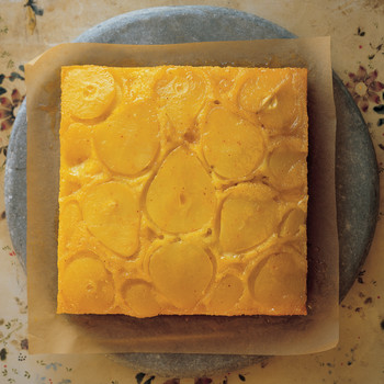 Saffron-Scented Pear Upside-Down Cake