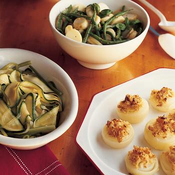 马铃薯,绿豆,罗勒沙拉