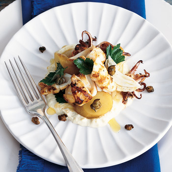 Grilled Squid with Fried Capers and Skordalia Sauce