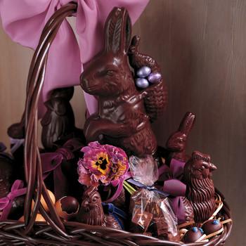 Chocolate Bunnies and Pansies Basket