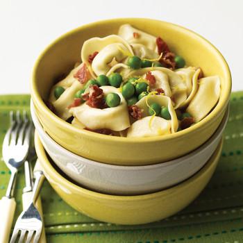 Lemony Tortellini with Peas and Prosciutto