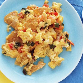 Corn-Tortilla and Egg Scramble