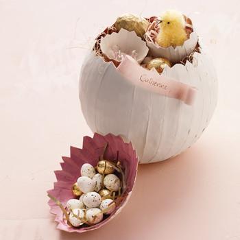 Papier-Mache Easter Eggs with Pom-Pom Chick