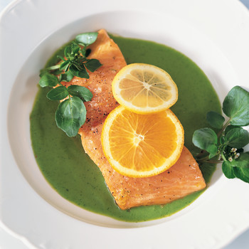 Citrus Roasted Salmon with Spring-Pea Sauce