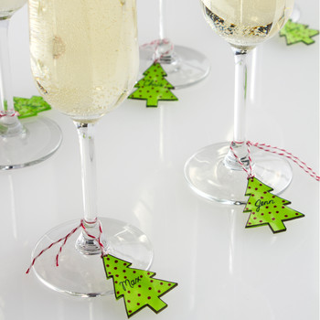 Pop-Art Christmas Tree Wineglass Charms