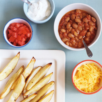 Roasted Potato Wedges and Chili