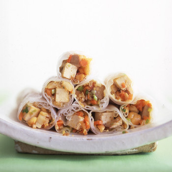 Crispy Spring Rolls with Spicy Tofu, Vegetables, and Toasted Nuts
