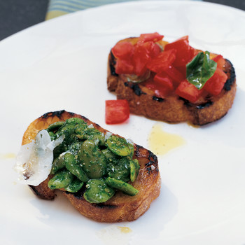 Bruschetta with Fava Beans and Arugula Pesto