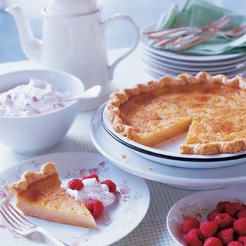 Sugar Cream Pie with Raspberry Whipped Cream