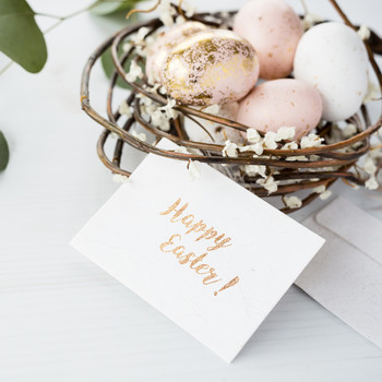 gold calligraphy easter card