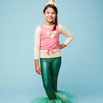 mermaid halloween kids costume girl sea shells