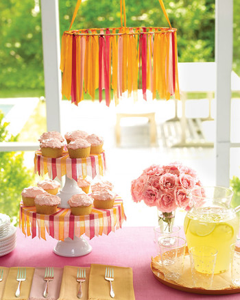 Seam Binding Cake Stand Skirt And Chandelier