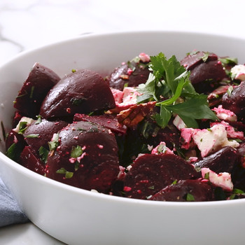 Watch: Chopped Beet Salad with Feta and Pecans