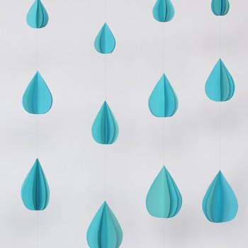 3-D Paper Raindrop Garland