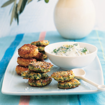Chickpea Fritters with Tzatziki