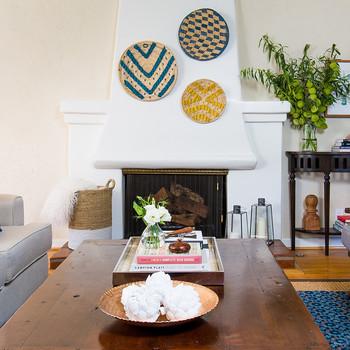 living room woven plate mantel display
