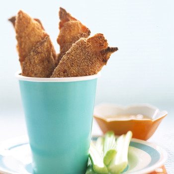 Ham-Wrapped Chicken Fingers with Apricot-Mustard Dipping Sauce