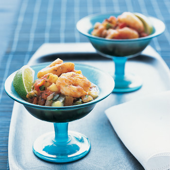 Grilled-Vegetable Gazpacho with Shrimp