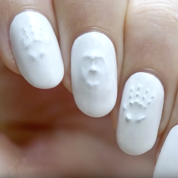 Ghost face 3-D nail art idea