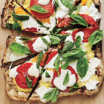 Grilled Pizza with Cheesy Corn, Fresh Tomatoes, and Basil