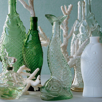 Vintage Fish Plates and Bottles