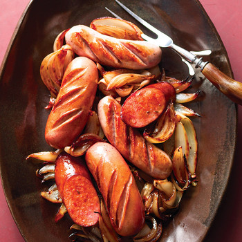 Sausages with Browned Onions