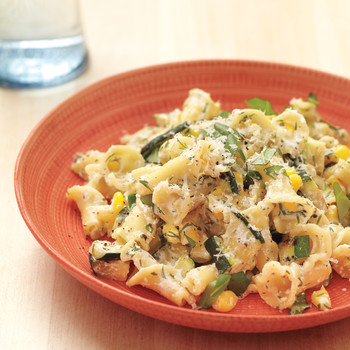 Herbed Ricotta Pasta with Corn and Zucchini