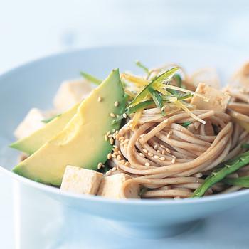 Soba Noodles with Tofu, Avocado, and Snow Peas