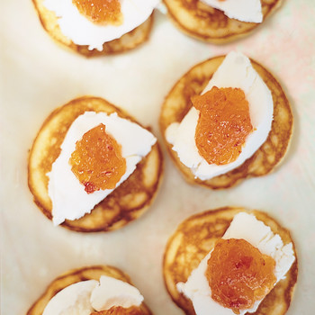 Mini Corn Cakes with Goat Cheese and Pepper Jelly