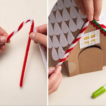 "A New (Less Mess) Classic: The Cardboard ""Gingerbread"" House"