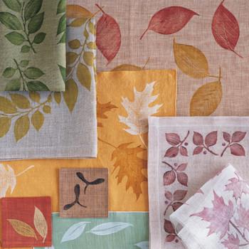 Leaf-Printed Linens