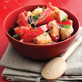 Tomato Bread Salad with Olives and Mint