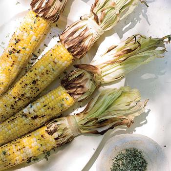 Grilled Corn with Cilantro Salt