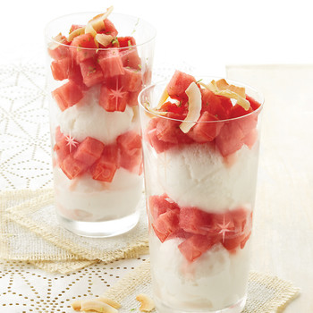 Watermelon and Coconut Sorbet Parfaits
