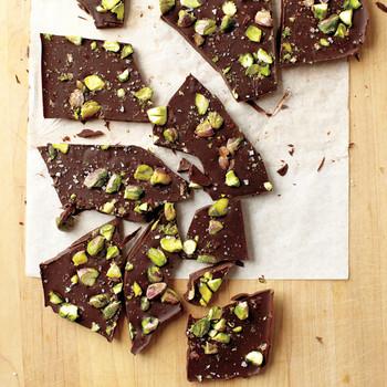 Dark Chocolate Bark with Pistachios and Sea Salt