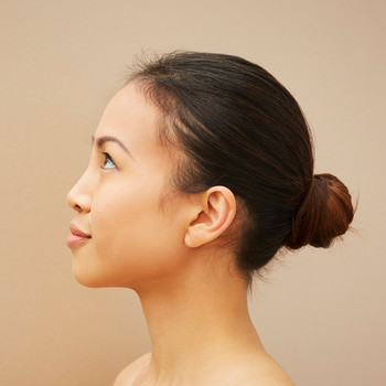 woman with low bun